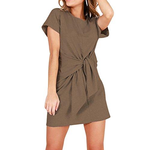 e Short Sleeve Round Neck Waist Knotted Short Dress Juniors Tunic Dresses (Khaki, XL) ()