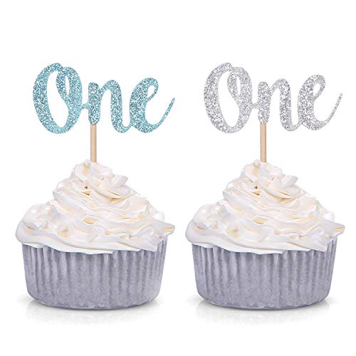 Pack of 24 Glitter One Cupcake Toppers Baby Boy First Birthday Decorations (Blue and Silver)
