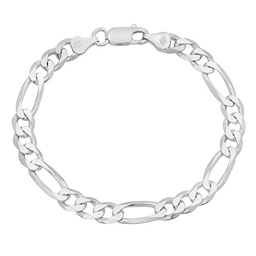 Men's 6.5mm Solid 925 Sterling Silver Figaro Link Bracelet