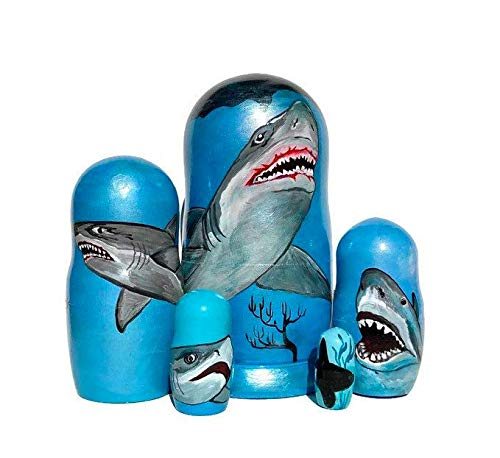 Shark Nesting dolls for kids Kids room decor Big What Shark wooden stacking doll puzzle