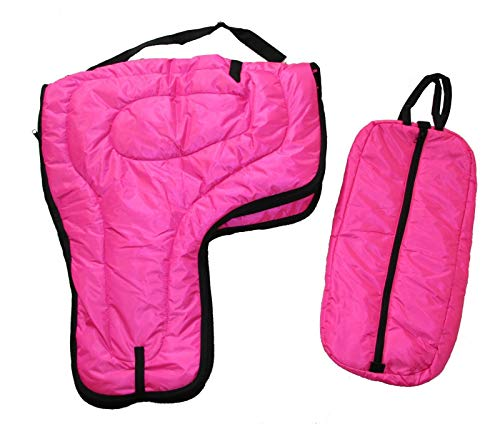 AJ Tack Wholesale Western Saddle Carrier Case Bridle Halter Bag Set Large 420D Padded Hot Pink