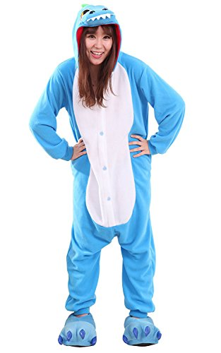 Apiidoo Unisex Dragon Pajama Animal Cosplay One Piece Halloween Costume Jumpsuit Blue M