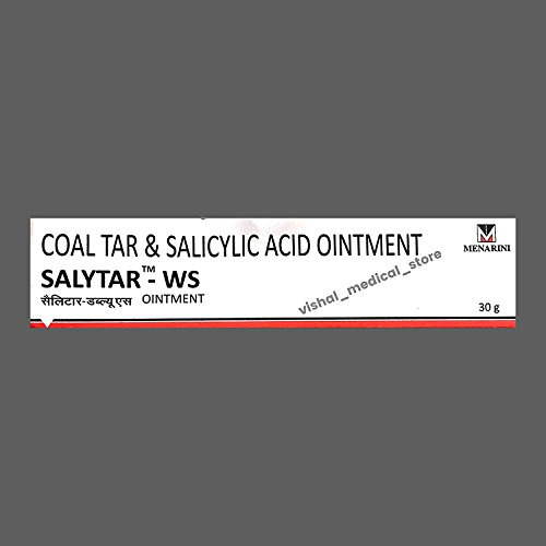 Salytar-WS- Coal Tar & Salicylic Acid Ointment - For Psoriasis & Skin Diseases Like Acne, Blemishes, Skin redness, Dandruff, Calluses and Corns,Itching,Scaling,Flaking, - Ointment Tar Coal