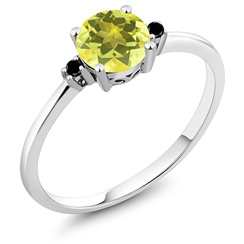 (Gem Stone King 10K White Gold Engagement Solitaire Ring set with 1.03 Ct Round Canary Mystic Topaz and Black Diamonds (Size 7))