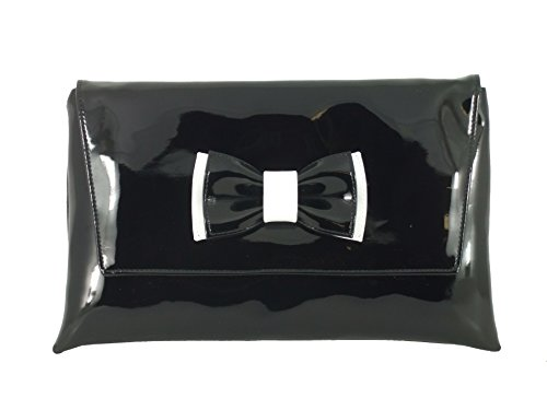 Loni Womens Gorgeous Black Patent Bow Clutch/Shoulder Bag With White Patent Trim ()