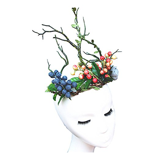 Flower Branch Headband Forest Elf Floral Tree Branch Headdress Women/Girl Gothic Headpiece For Forest Photography Easter Halloween Christmas Party -