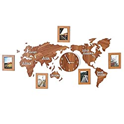 MTime World Map DIY Decorative Wall Clock, Large Clock with Wooden Photo Frames Creative Home Decorations for Living Room Bedroom Office-Wood Color 1.8m