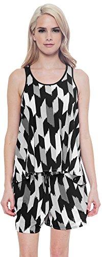 Joe Boxer Womens 2 pc Pajama Lounge Set Print Sleep Tank & Shorts (Black, Medium)