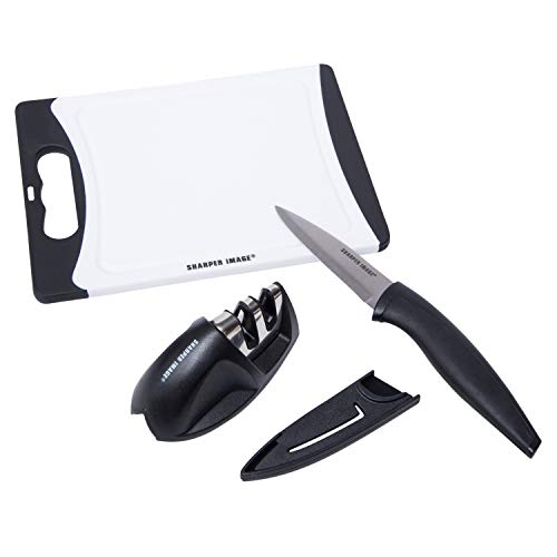 Sharper Image 3-Piece Kitchen Prep Set with Paring Knife, Cutting Board and Knife Sharpener