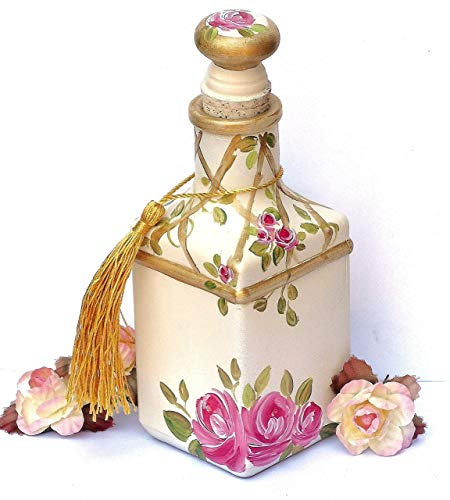 (Romantic Decorative Large Glass Square Perfume Bottle with Painted Pink Roses and Swarovski Crystal Rhinestones)