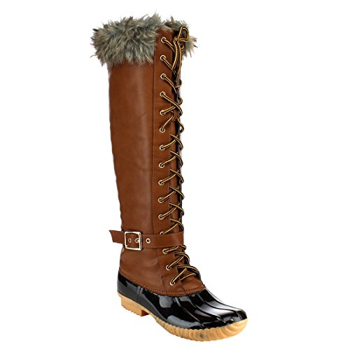 Women's Knee High Winter Boots Lace up Insulated Fur Cuff Trim Waterproof Rubber Sole Duck Snow Rain Shoe Boots Tan (Fur Lined Duck Boot)
