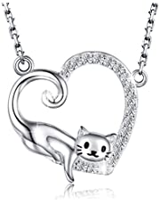 MANBU 925 Sterling Silver Cat Pendant Necklace Kitty Jewelry Gift for Women Ladies Girls Cat Lovers