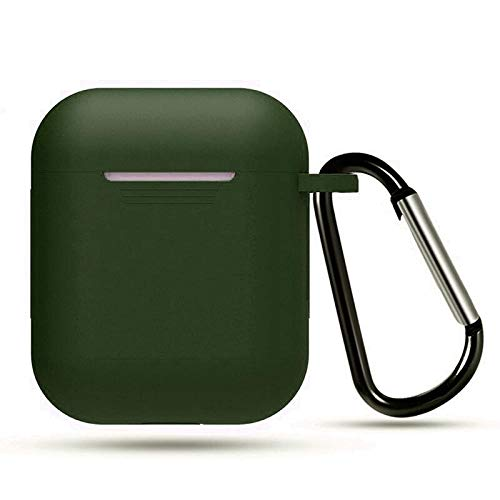 MXVOLT Compatible with AirPods Case, Silicone Protective Shockproof Wireless Charging Airpods Earbuds Case Cover Skin with Keychain Set, Women Girls Men, for Apple AirPods 2 & 1 Ð Dark Green
