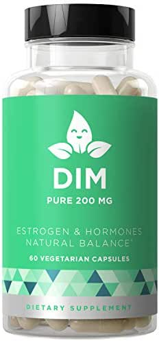 DIM Supplement Pure 200 MG - Energy Fatigue & Stress Relief, Estrogen Balance, Menopause & Hot Flashes, Hormonal Support for Women - Enhanced Bioavailability BioPerine - 60 Vegetarian Soft Capsules