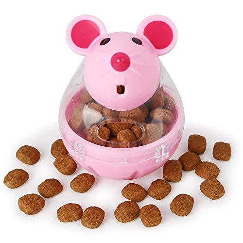 Luck Dawn Cat Food Dispenser, Interactive IQ Treat Dispensing Ball, Cat Mouse Tumbler Toy