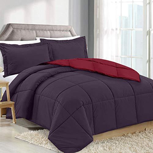 (Clara Clark Luxury Down Alternative Comforter Set Hypoallergenic, Plush Siliconized Fiberfill, Box Stitched, Duvet Insert King Red - Eggplant)