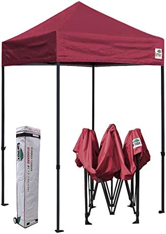Eurmax 5×5 Ez Pop up Canopy Outdoor Heavy Duty Instant Tent Pop-up Canopies Sun Shelter with Deluxe Wheeled Carry Bag Burgundy