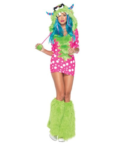 [Leg Avenue Women's 2 Piece Melody Monster Costume, Pink/Green, Medium/Large] (Sexy Monster Halloween Costumes)