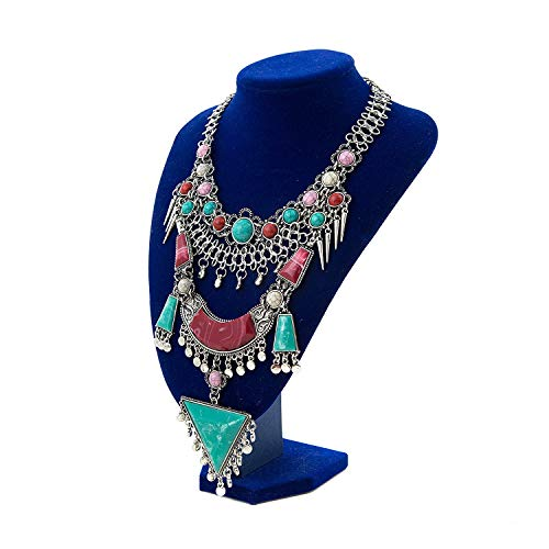 Miraculous Garden Womens Vintage Alloy Silver/Gold Long Boho Bohemian Necklace Ethnic Tribal Boho Necklace Geometry Red Turquoise Beads Statement Necklace (Antique Silver) -
