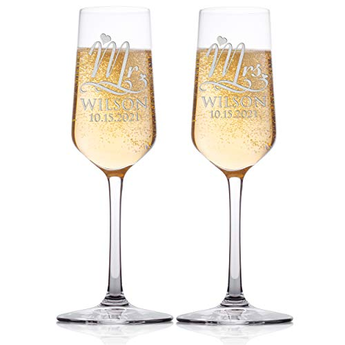 (Set of 2 - Personalized Wedding Champagne Flute Glasses, Customized Wedding Champagne Glasses for Bride and Groom, Mr & Mrs Last Name & Date With Heart, Celebration Champaign Flute Set - C4)