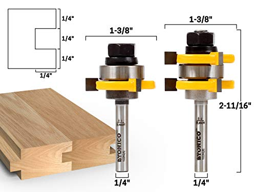 Yonico 15228 3//4-Inch 2 Bit Tongue and Groove Router Bit Set 1//2-Inch Shank