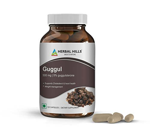 Guggul with Arjuna Extract 500mg I Cholesterol Supplement I Maintains Heart Health I Supports Normal Cholesterol and Blood Pressure Levels I Cardiovascular Protection I by Herbal Hills - 120 Capsules