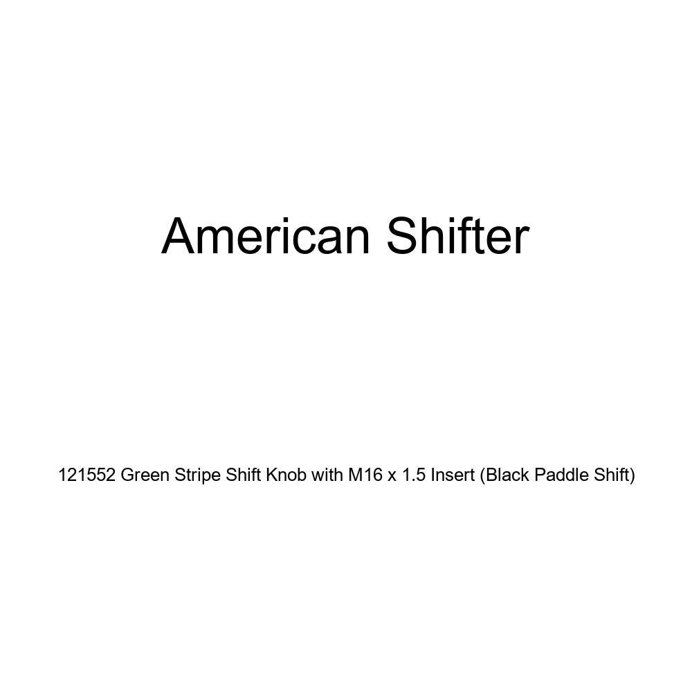Black Paddle Shift American Shifter 121552 Green Stripe Shift Knob with M16 x 1.5 Insert