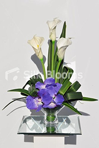 Eye Catching Artificial Fresh Touch Purple Vanda Orchid Vase Display