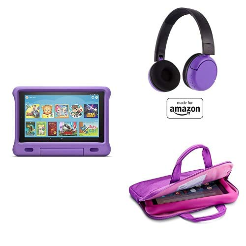Fire HD 10 Kids Essential Bundle including Kids Fire HD 10 Tablet 32GB Purple + Playtime Bluetooth Headset (Ages 8-15) + Tablet Carrying Sleeve