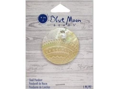 - Blue Moon Beads ZP-001-00083 Shell Pendant with Engraved and Plastic Accent, Natural