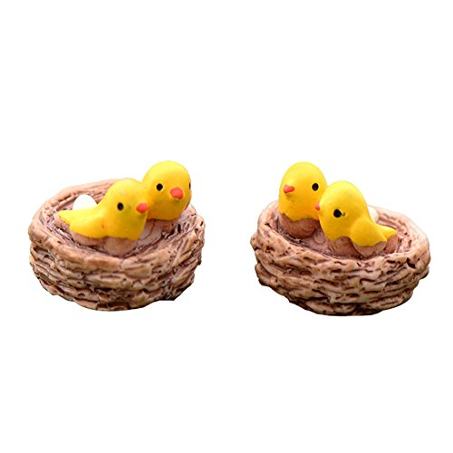 Wansan 2 Pcs Miniature Yellow Ostrich Micro Landscape Decoration Ornament Dollhouse Plant Pot Figurine DIY Craft for Garden Outdoor Home Decor