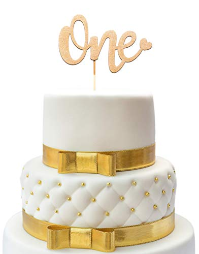 1st Birthday Cake Topper - One Cake Topper Gold - Double Sided Gold Glitter - One Cake Topper Happy - First Birthday Cake Topper - One Sign - Birthday Accessory For Boys & Girls - 1 Cake Topper