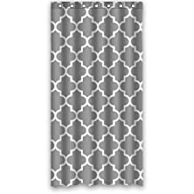 36'' X 72'' (90cmx 180cm) Custom Classic Grey and White Quatrefoil Polyester Fabric Shower Curtain