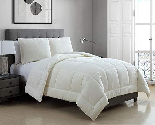 Oversized Comforter Ensemble - 3 Piece Micromink Sherpa Silky Smooth Plush Oversized Ivory Comforter Set King