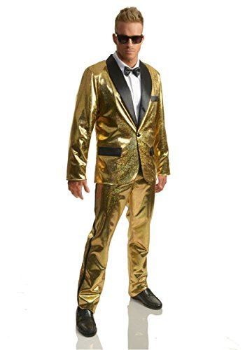 Charades Men's Disco Ball Tuxedo Set with Pants, Gold/Black Large -