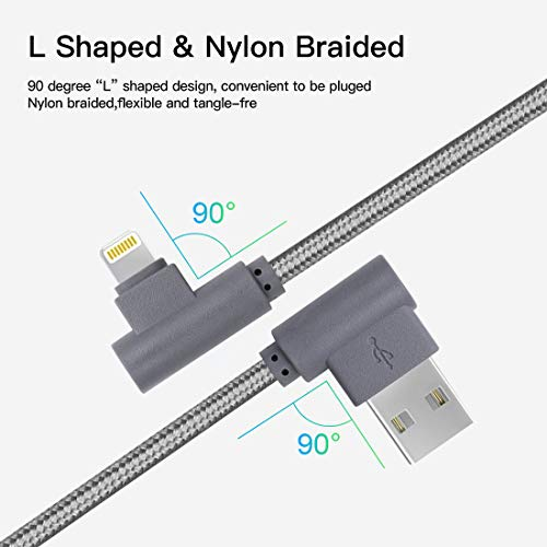 10FT 3 Pack Lightning Cable iPhone Charger Cord 90 Degree Fast Data Cable Nylon Braided Compatible with iPhone Xs Max/XS/XR/7/7Plus/X/8/8Plus/6S/6S Plus/SE (Gray, 10FT)
