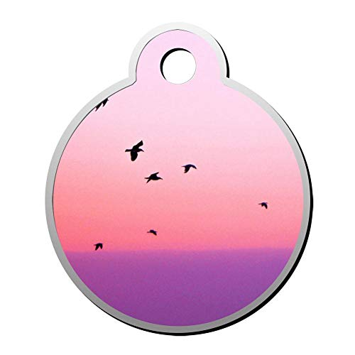 YHPQQ Personalized Collar Tag Pet ID Tags for Cat and Dog - Round Shape Pink Birds ()