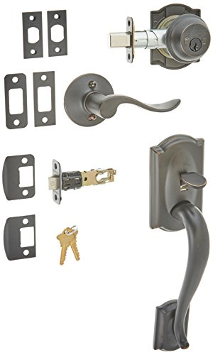 Schlage F62CAM716ACCRH Aged Bronze Camelot Camelot Right Hand Double Cylinder Handleset with Accent Interior Lever from The F-Series Bronze F-series Accent Accent