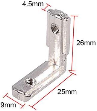 Aluprofil 2020 Nut 6 M5 Innenwinkel Au/ßenwinkel 90 Grad Winkel T-Slot L-Form Klammern Inneneckverbinder Eckverbinder Profilverbinder Zinklegierung f/ür 20-er Aluminiumprofil 20X EyPiNS Winkelwinkel