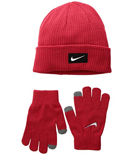 Nike Boys Reversible Beanie and Gloves Set (8/20, Dark Magnet Gray/Heather Crimson) (University Red(9A2758-U10)/Black, 8-20 Big Kids)
