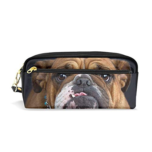 ALLDET-PU Cool Bulldog Face Novelty Colored Cosmetic Bag Zipper for Travel Storage Makeup Bags Purse ()