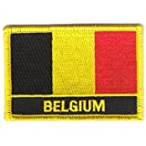 Flaggen Aufnäher Patch Belgien Schrift Fahne NEU
