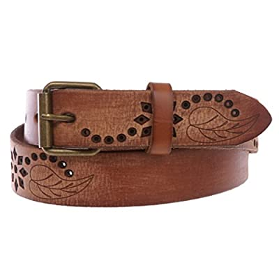 """1 1/4"""" Snap On Embossed Floral Leaf Perforated Vintage Soft Cowhide Full Grain Thick Leather Casual Jean Belt"""