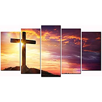 sechars - 5 Large Painting Canvas Art Christian Crosses at Sunset Pictures Canvas Prints Wall Art for Living Room Home Decor Cross Poster Wall Picture Framed Ready to Hang