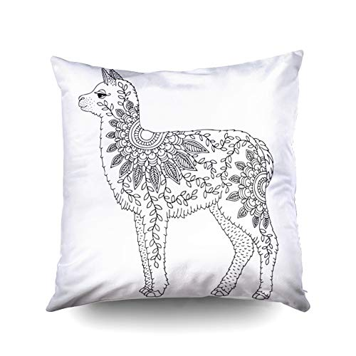 KIOAO Easter Standard Pillow Cases 18X18Inch Soft Square Throw Pillowcase Covers Baby Alpaca Llama Adult Coloring Page May Be Used Print Poster Wallpaper Printed with Both Sides ()