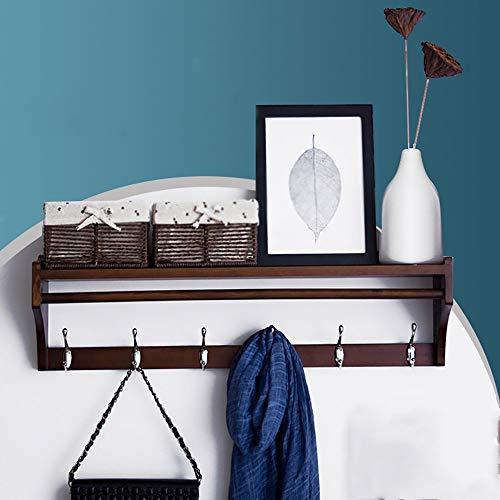 SED Coat Rack-Hanger Floor Bedroom Wooden Hook up Wall Hanging Solid Wood Foyer Wall Hanger Sturdy Space Saving Storage Rack,6hooks by SED (Image #3)