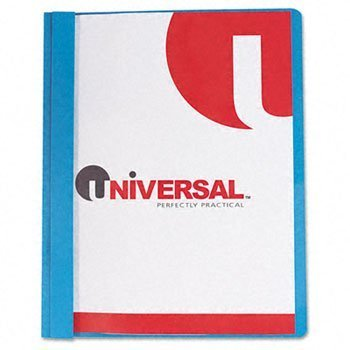 Universal 56101 Report Cover, Tang Clip, Letter, 1/2 in. Capacity, Clear/Blue, 25/Box by Universal