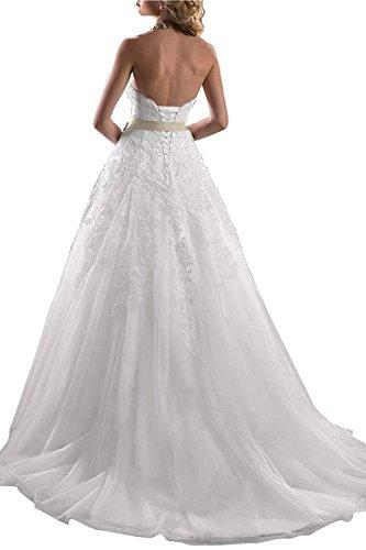 Lang Prinzessin Brautkleider Weiß Damen Beyonddress Abendkleider Trägerlos Appliques Spitze Hochzeitskleider 0nwC6qTx4