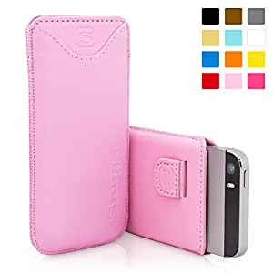 iPhone 5 / 5S / SE Case, SnuggTM - Candy Pink Leather Pouch Cover with Card Slot & Soft Premium Nubuck Fibre Interior - Protective Apple iPhone 5 / 5S / SE Sleeve Case - Includes Lifetime Guarantee