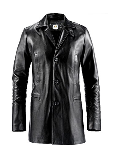 ST Black Leather Trench Coat 3 Button Men Max Payne Mark Wahlberg Faux Designer Jacket Big Tall Boys